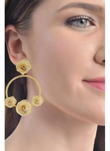 Labalaba Labalaba Kadın Altın Renk Kaplama Çiçek Stilizesi Dairesel Halka Küpe Altın